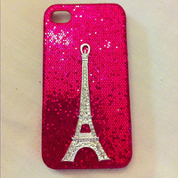 Hot Pink glitter iphone 4 case with rhinestone by GlitterLovers