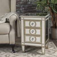 Maven Silver Finished Mirrored 3 Drawer Cabinet with Faux Wood Frame
