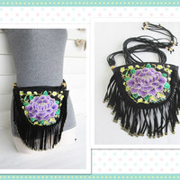 Tribal fanny pack/ Fringed Boho hip bag/ Upcycled utility belt/ Festival bag/ Gypsy bag.