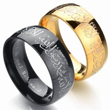 Muslim Allah Stainless Steel Ring For Women Men Islam Arabic God Messager Black Gold Band Muhammad Quran Middle Eastern
