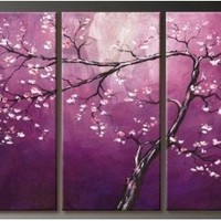 Unixtyle Art 100% Hand-painted Sales Promotion Wood Framed on the Back Purple Flower Tree Home Decoration Landscape Framed Oil Painting on Canvas 3pcs/set