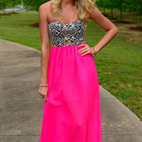 Wild Tribal Maxi, Black/Fuchsia