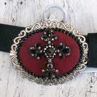 Red Leather Crystal Cross Bling Belt Buckle Western Cowgirl Rodeo