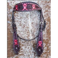 HILASON WESTERN LEATHER HORSE HEADSTALL BREAST COLLAR PINK BREAST CANCER RIBBON