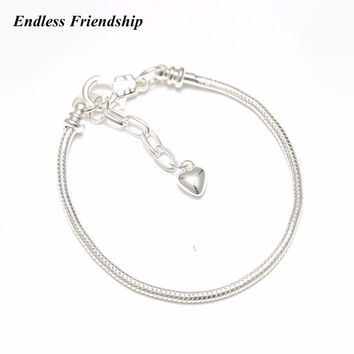 European Women Plated silver Snake chain Lobster clasp Bracelet charm chain fit Pandora Bracelets DIY Making Jewelry Gifts