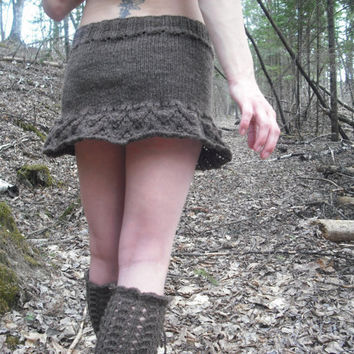 Pixie Skirt Woodland Festival Skirt Brown Ruffle Mini Hand Knitted Ready To Ship