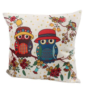 With Inner Core For Sofa Bed Throw Decorative Pillow  Car Home Decor Cushion High Quality 45*45cm Mr. Animal Cat Owl Printed