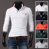 Fashion Men Long Sleeve Slim Fit Polo Tee