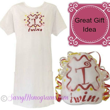 Monogrammed Oversize Tshirt -  Personalized Shirt for Mom of twins, triplets or quads
