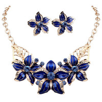 Jewelry New Arrival Gift Shiny Stylish Floral Diamonds Set Necklace [6044410049]