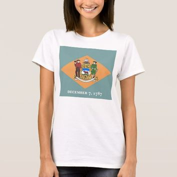 Women T Shirt with Flag of Delaware State