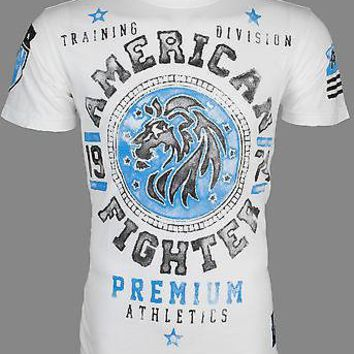 Licensed Official AMERICAN FIGHTER Mens T-Shirt ALABAMA Lion WHITE Athletic Biker Gym MMA UFC $40