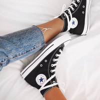 """Converse"" Fashion Canvas Flats Sneakers Sport Shoes black high-tops"