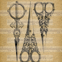 Vintage Sewing Scissors, Digital Retro Printable ClipArt, Typography, Printable Digital Download for Iron,Papercrafts,Transfer,Pillows,
