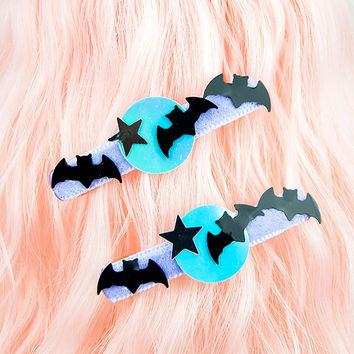 Kawaii Fairy Kei Pastel Goth Bats, Star, and Moon Hair Clip