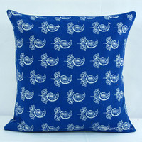 Blue Indian Hand Block Floral Print Cotton Throw Pillow