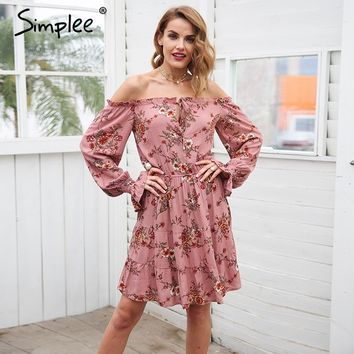 Simplee Lace up off shoulder print summer dress women Floral long flare sleeve dress female 2018 casual midi dress robo femme