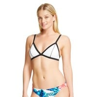 White/Black Banded Triangle Bikini Top - Xhilaration