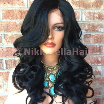 Khloe Jet Black Wavy Human Hair Blend Front Lace Wig 24""