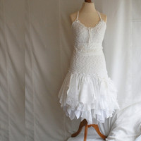 Fairy Wedding Dress Upcycled Clothing Tattered Romantic Dress Upcycled Woman's Clothing Shabby Chic Funky Eco Style Made to Order