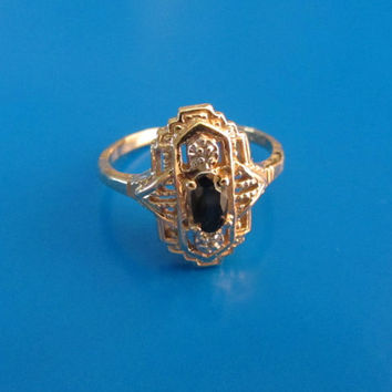 10k Two Tone Gold Antique Victorian Dark Blue Sapphire Ring Size 4 1/2. 2.07g