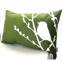 Olive Green Bird on Cherry Blossom Rectangle Pillow READY TO SHIP