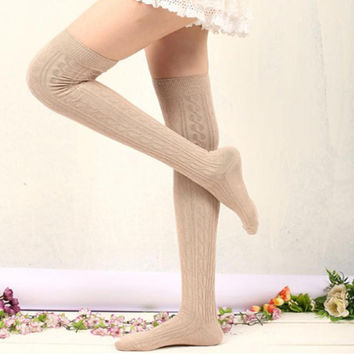 New 2016 Autumn Winter Women Wool Braid Knitted Over Knee High Socks Warm Thigh High Long Stockings Birthday Gift Free Shipping