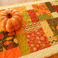Hello Fall Quilted Table Runner in Rich Autumn Prints from Moda