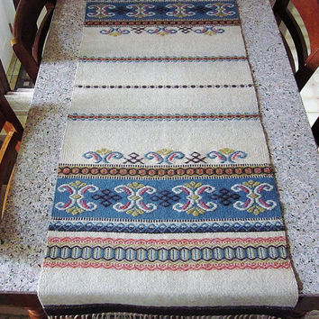 Vintage Norwegian Wool Weaving - Antique Scandinavian Table Runner - Rustic Nordic Cabin Decor  - Primitive Colorful Hand Loomed Textile