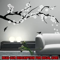 CHERRY BLOSSOM Branch Wall Decal Nursery Living Dining Bedroom Room Vinyl Sticker Art Decor Birds