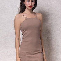 Brown Ribbed Cami Bodycon Mini Dress