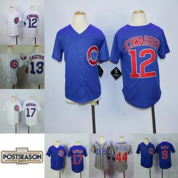 Youth Chicago Cubs #17 Bryant #44 Rizzo #9 Javier Baez #34 Lester #27 Russell #49 Arrieta Kyle Schwarber 2017 Post Season Patch Jersey