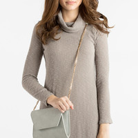 Lynn Taupe Cowl Neck Ribbed Dress