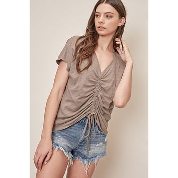 Front Drawstring Top - Mocha Grey