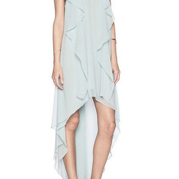 Light Green Ruffled Asymmetric Chiffon Dress