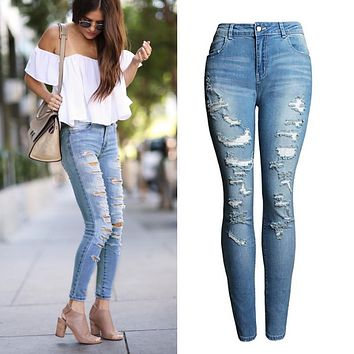 2074 New 2017  High Waist Jeans Ladies Cotton Denim Pants Stretch Womens Bleach Ripped Jeans Skinny Jeans Denim Jeans For Female