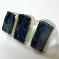 434522 Raw Gemstone Blue Kyanite 925 Sterling Silver Ring, Handmade Raw Jewelry Ring Raw Gemstone Ring