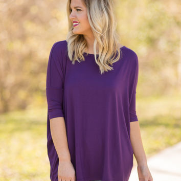 PIKO 3/4 Sleeve Top - Purple