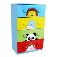 Fantasy Fields Sunny Safari 4-Drawer Cabinet by Teamson Kids (Blue/Green/Yellow)