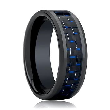 Black Ceramic Ring - Blue & Black Carbon Fiber Inlay  - Ceramic Wedding Band - Beveled - Polished Finish - 4mm - 6mm - 8mm - 10mm