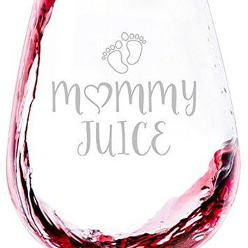 Mommy Juice Funny Wine Glass  Best Birthday Gifts For Mom Women  Unique Mothers Day Gift Idea From Husband Son Daughter  Fun Novelty Present For a New Mom Wife Friend Sister Her  13 oz