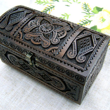 Jewelry box Wooden box Wedding ring box Wood box boîte bijoux Jewellery box Jewelry boxes Wooden cigar box Wood carving Anniversary gifts B9