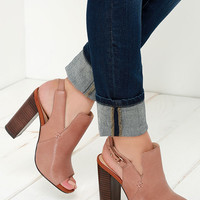 Sbicca Ursa Tan Multi Leather Peep-Toe Booties