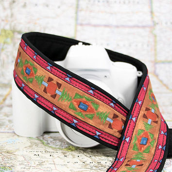 Camera Strap, dSLR, Southwestern Colors Tribal, Pocket, Quick Release available, Camera Neck Strap, Nikon or Canon Strap, SLR, 223 w