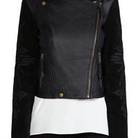 Twelfth Street By Cynthia Vincent Talitha Embroidered Suede Sleeve Moto Jacket in Black