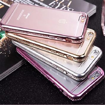 Plating Diamond Cover For iphone 7 7plus Case For iphone 6S 6 Plus Luxury Glitter Bling Rhinestone Phone Cases Soft TPU Coque