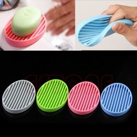 Fashion Silicone Flexible Soap Dish Plate Bathroom Soap Holder