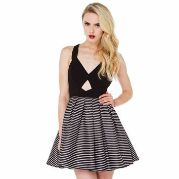 Black Stripe Bow-Back Pleated Dress