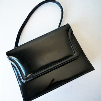 Modern Black Patent Leather Handbag
