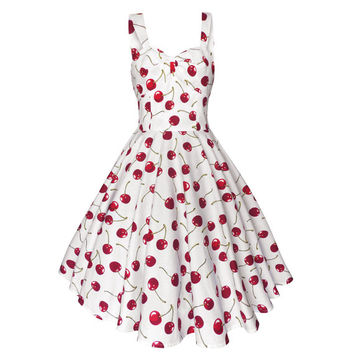 Summer Dress White Cherry Dress Rockabilly Dress Pin Up Dress Swing Dress Holiday Dress 50s Dress Retro Dress Prom Party Dress Sun Dress